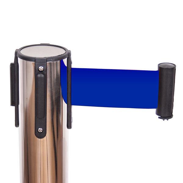 Słupki odgradzające z taśmą CHROME - niebieska 2 m - głowica z taśma