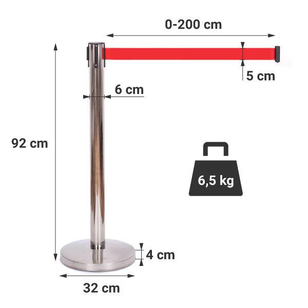 Słupki odgradzające z taśmą CHROME - czerwona 1,8 m