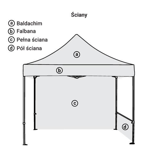 namiot reklamowy 3x3m bez nadruku ścianki