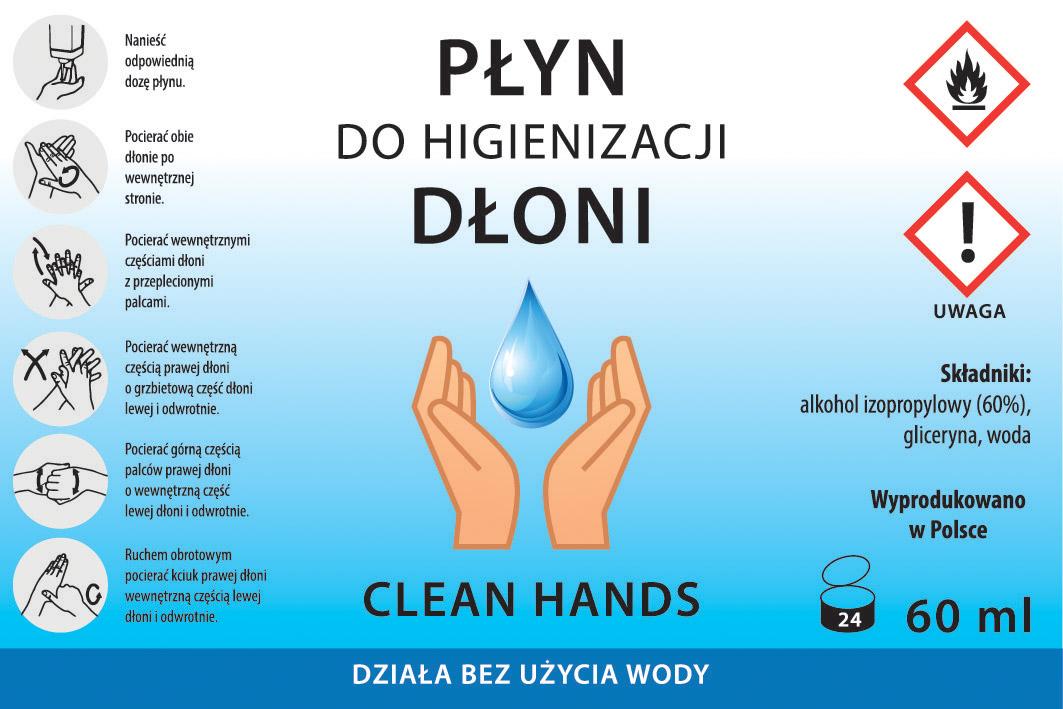 Płyn do higienizacji dłoni - etykieta standardowa